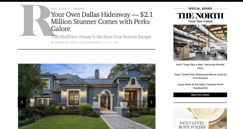 HOT OFF THE PRESS: Your Own Dallas Hideaway — $2.1 Million Stunner Comes with Perks Galore